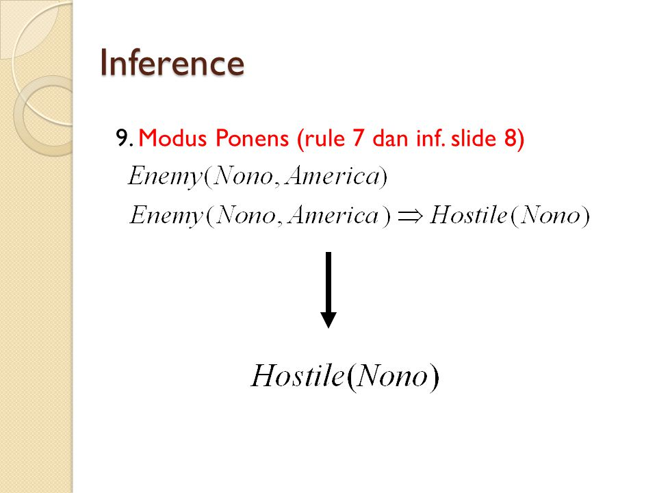 Inference 9. Modus Ponens (rule 7 dan inf. slide 8)