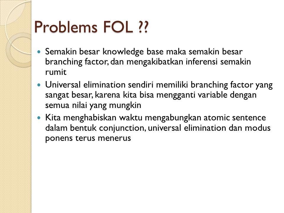 Problems FOL Semakin besar knowledge base maka semakin besar branching factor, dan mengakibatkan inferensi semakin rumit.