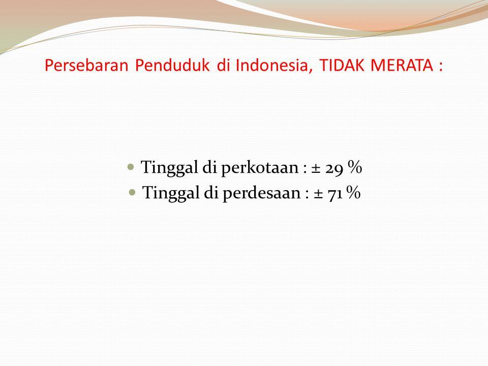 Persebaran Penduduk di Indonesia, TIDAK MERATA :
