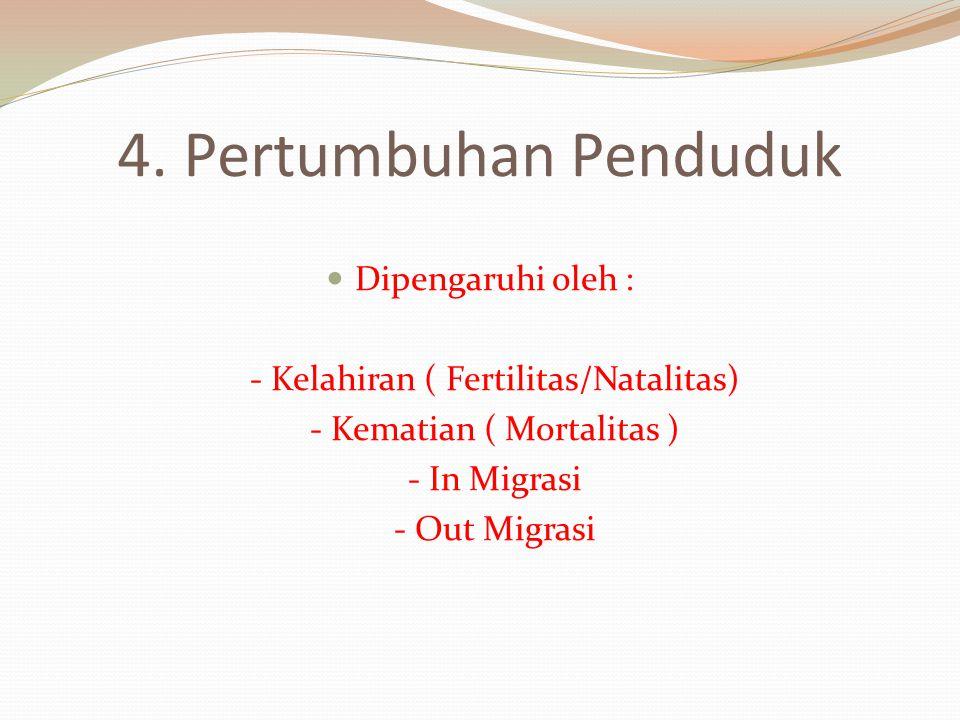 4. Pertumbuhan Penduduk Dipengaruhi oleh :
