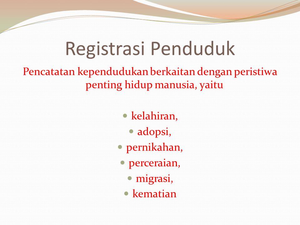 Registrasi Penduduk Pencatatan kependudukan berkaitan dengan peristiwa penting hidup manusia, yaitu.