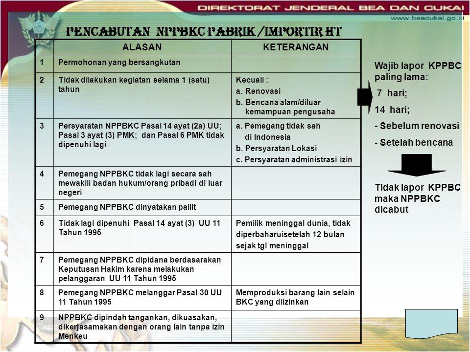 PENCABUTAN NPPBKC PABRIK /IMPORTIR HT