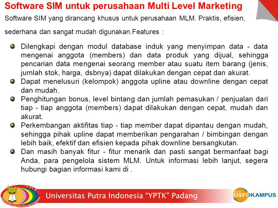 Software SIM untuk perusahaan Multi Level Marketing