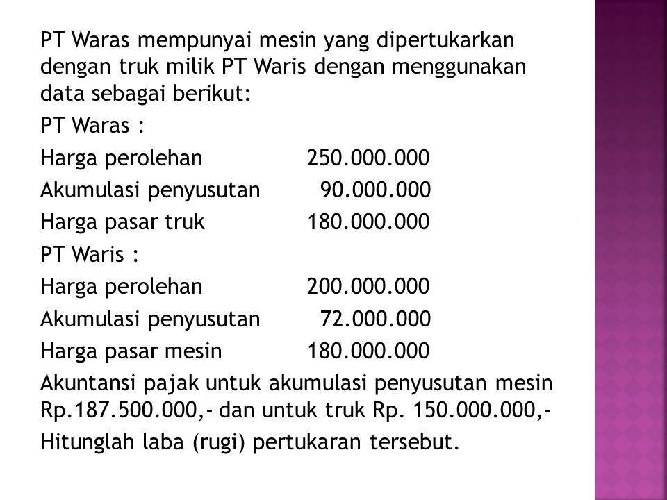 PT Waras mempunyai mesin yang dipertukarkan dengan truk milik PT Waris dengan menggunakan data sebagai berikut: PT Waras : Harga perolehan 250.000.000 Akumulasi penyusutan 90.000.000 Harga pasar truk 180.000.000 PT Waris : Harga perolehan 200.000.000 Akumulasi penyusutan 72.000.000 Harga pasar mesin 180.000.000 Akuntansi pajak untuk akumulasi penyusutan mesin Rp.187.500.000,- dan untuk truk Rp.