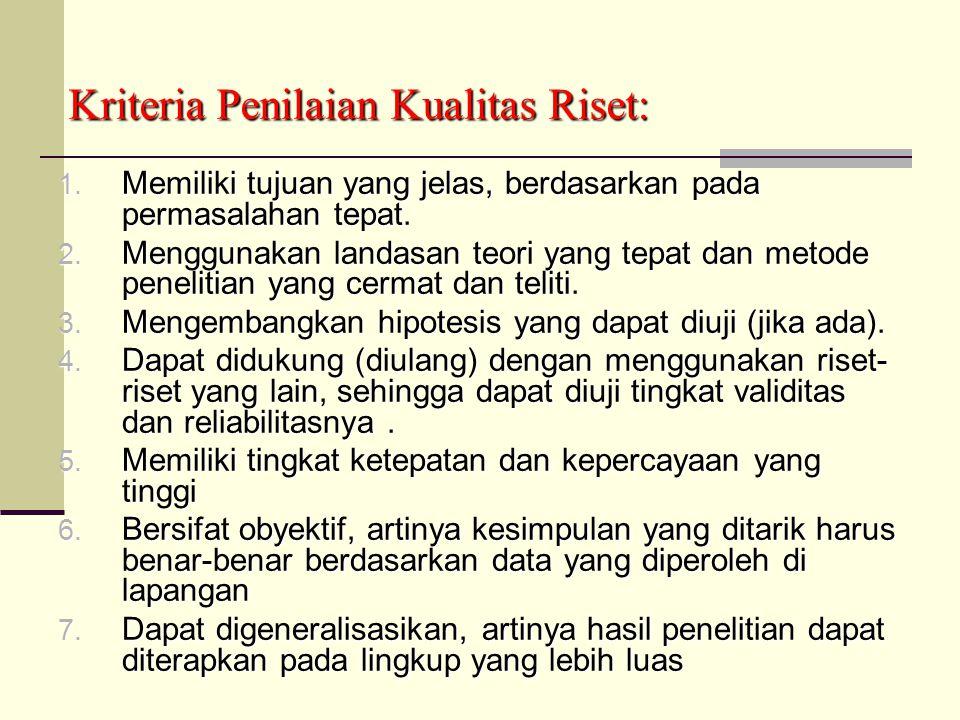 Kriteria Penilaian Kualitas Riset: