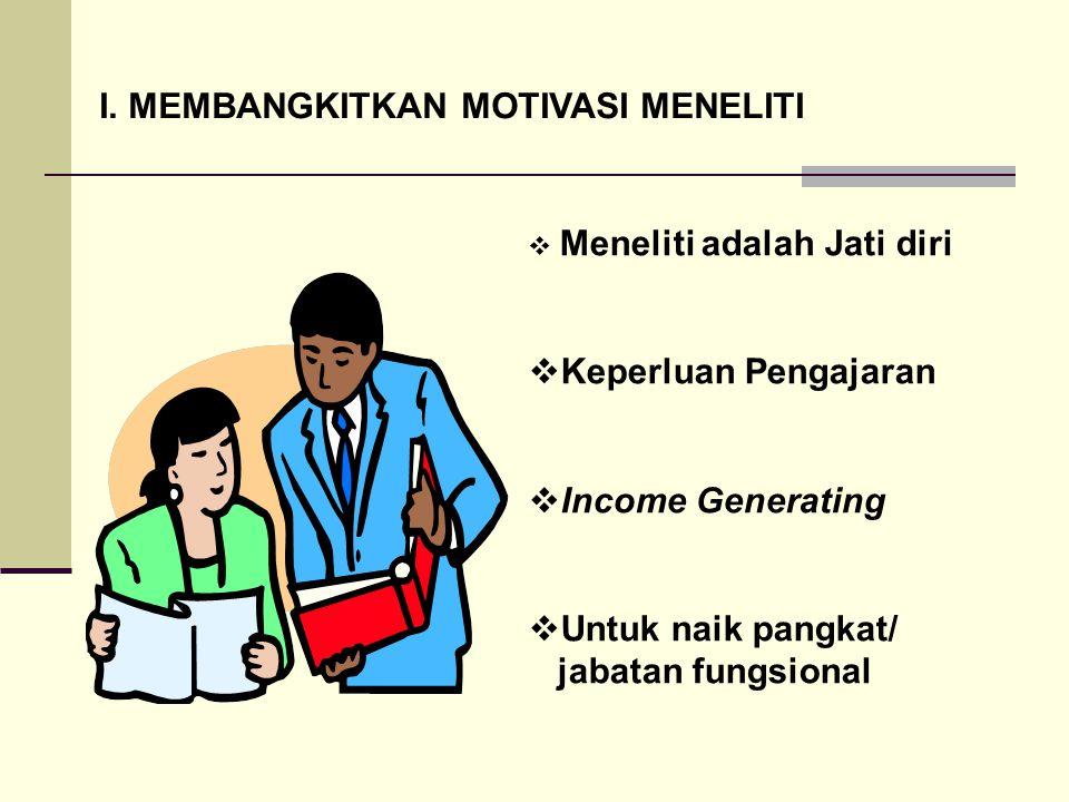 I. MEMBANGKITKAN MOTIVASI MENELITI