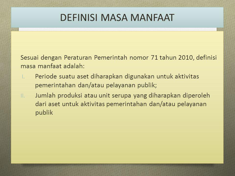 DEFINISI MASA MANFAAT Sesuai dengan Peraturan Pemerintah nomor 71 tahun 2010, definisi masa manfaat adalah:
