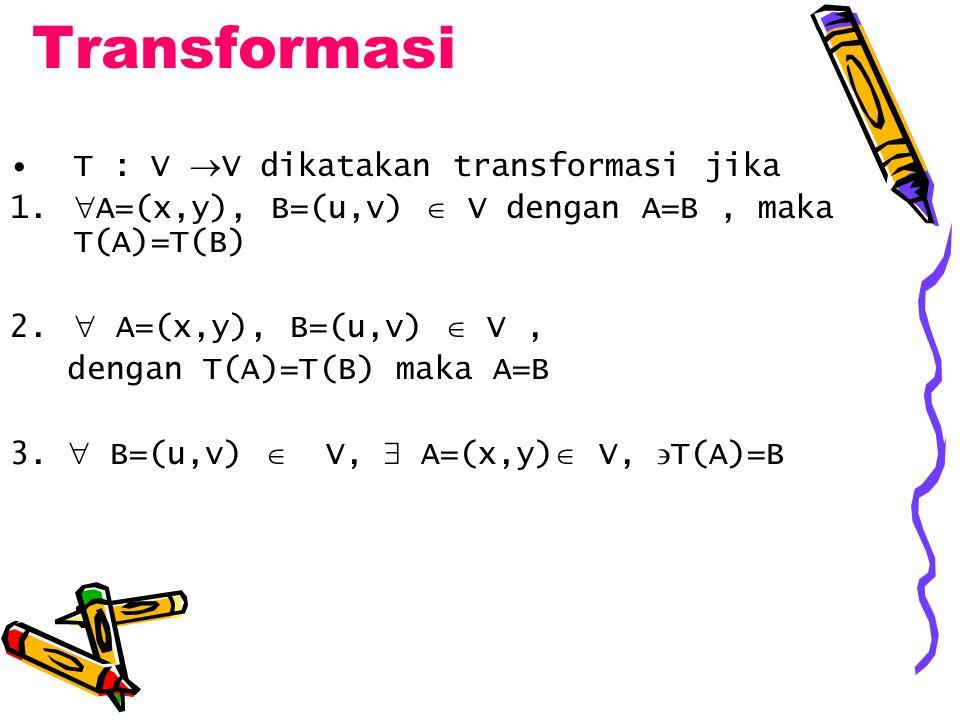 Transformasi T : V V dikatakan transformasi jika