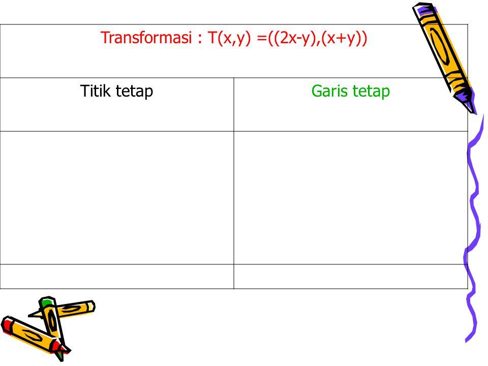 Transformasi : T(x,y) =((2x-y),(x+y))