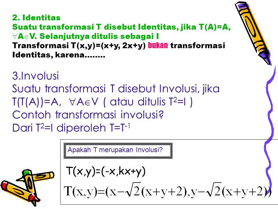 Contoh transformasi involusi Dari T2=I diperoleh T=T-1