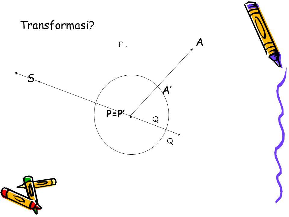 Transformasi A F . S . A' P=P' . Q Q