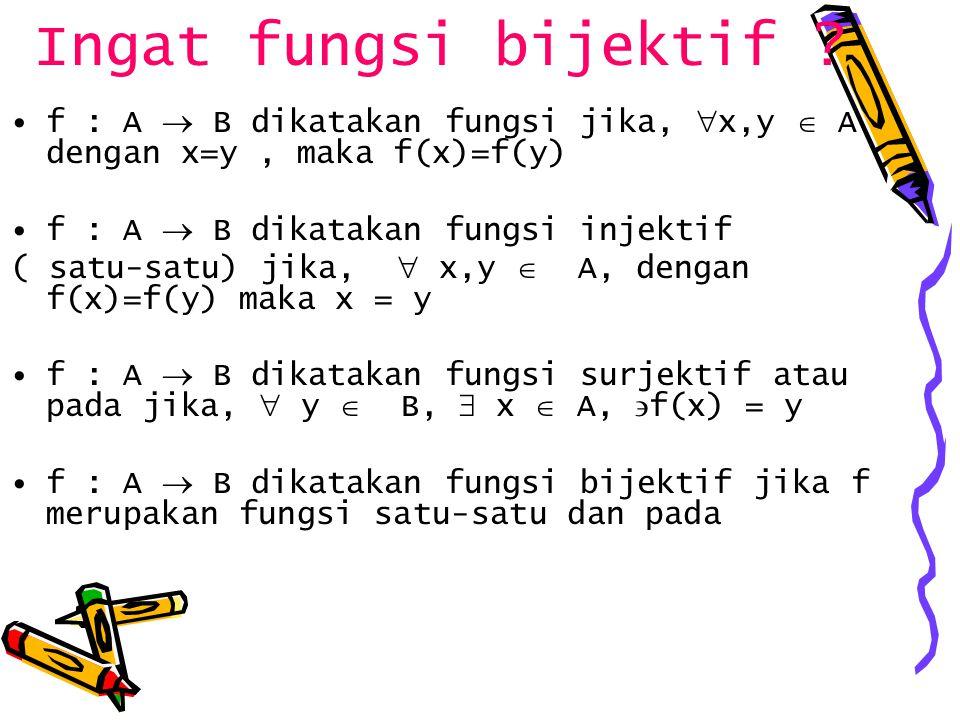 Ingat fungsi bijektif f : A  B dikatakan fungsi jika, x,y  A dengan x=y , maka f(x)=f(y) f : A  B dikatakan fungsi injektif.