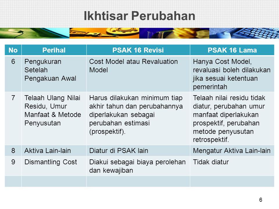 Ikhtisar Perubahan No Perihal PSAK 16 Revisi PSAK 16 Lama 6