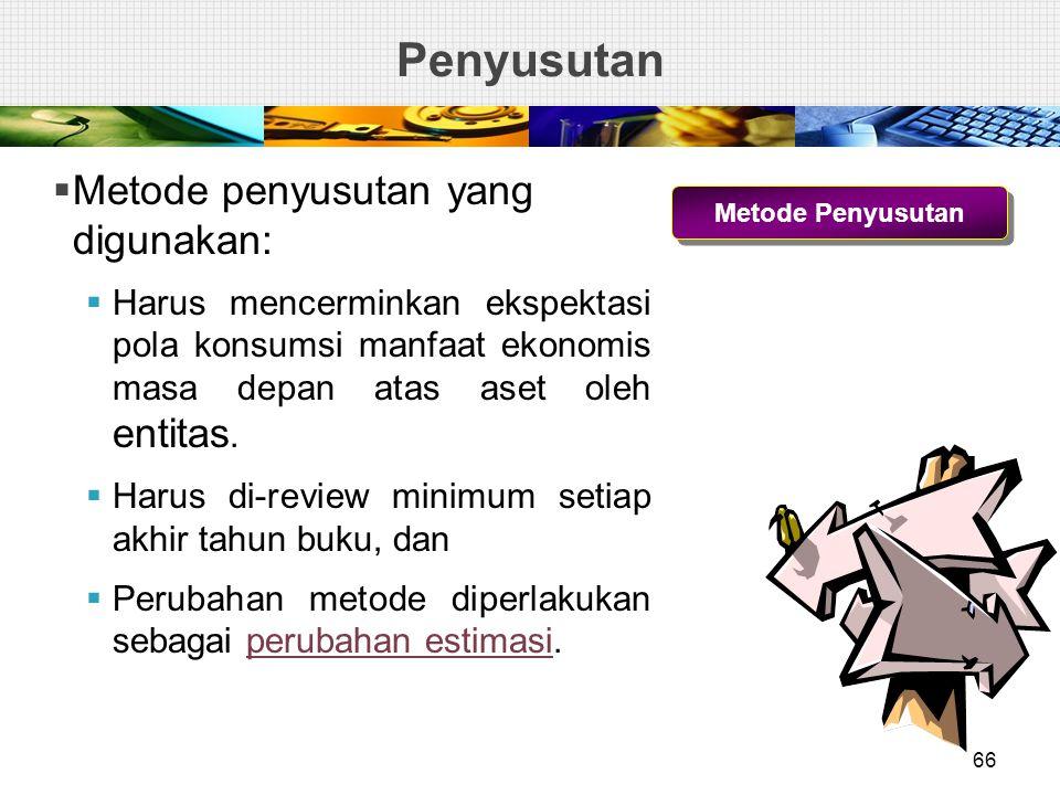 Penyusutan Metode penyusutan yang digunakan: