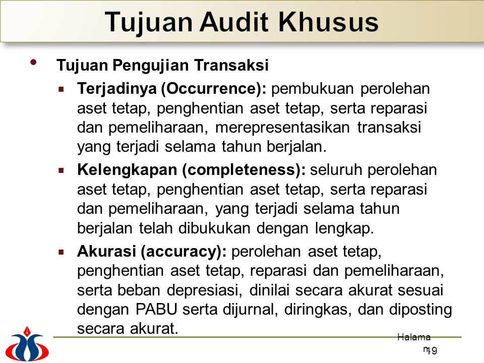 Tujuan Audit Khusus Tujuan Pengujian Transaksi