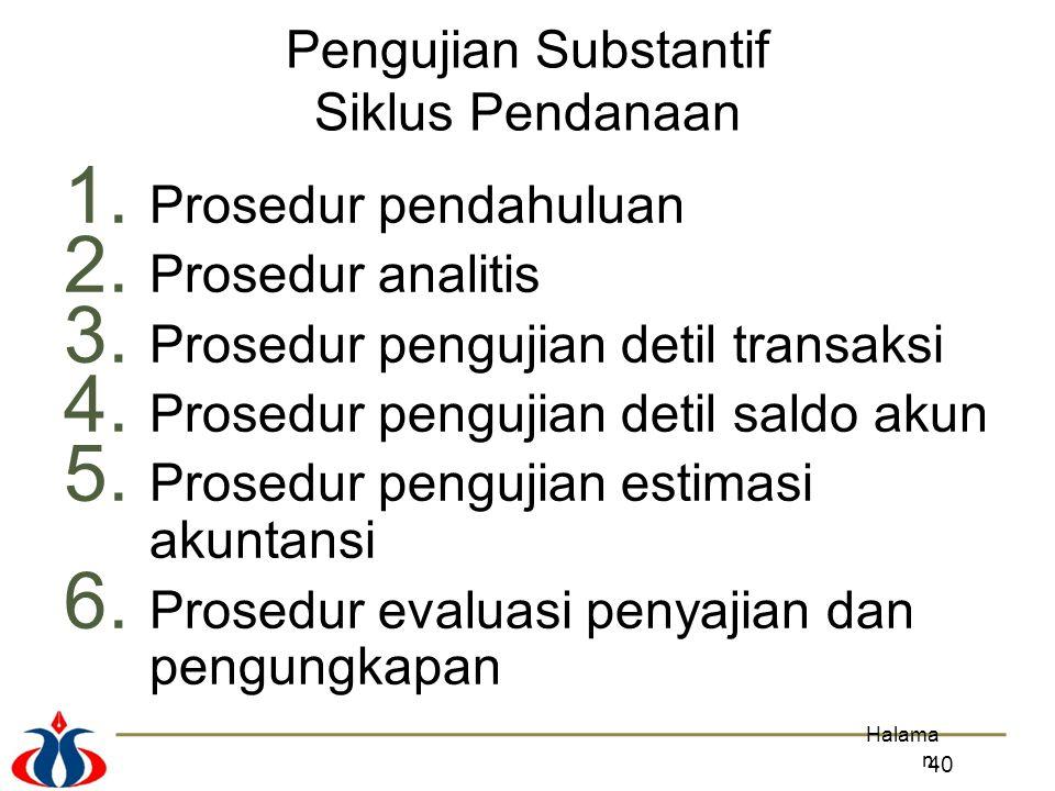 Prosedur pengujian detil transaksi Prosedur pengujian detil saldo akun