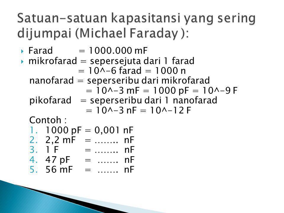 Satuan-satuan kapasitansi yang sering dijumpai (Michael Faraday ):