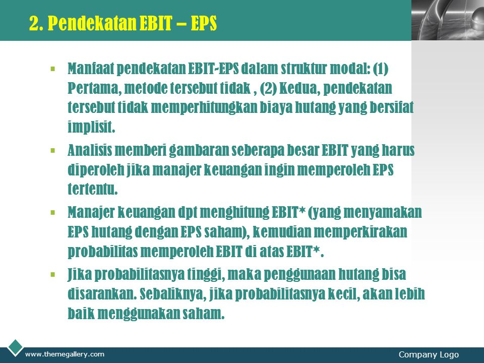 2. Pendekatan EBIT – EPS