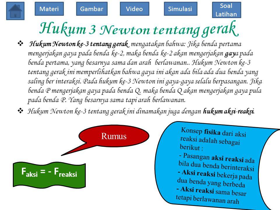 Hukum 3 Newton tentang gerak