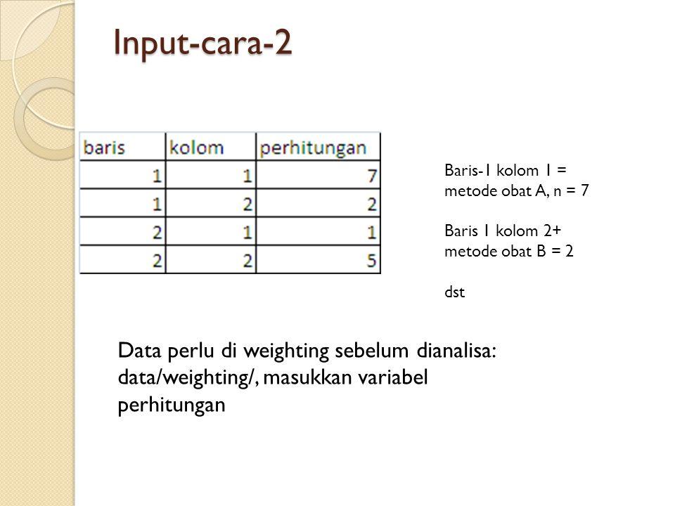 Input-cara-2 Baris-1 kolom 1 = metode obat A, n = 7. Baris 1 kolom 2+ metode obat B = 2. dst.
