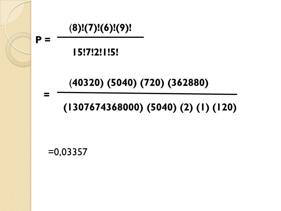 (8)!(7)!(6)!(9)! P = 15!7!2!1!5! (40320) (5040) (720) (362880) = (1307674368000) (5040) (2) (1) (120)