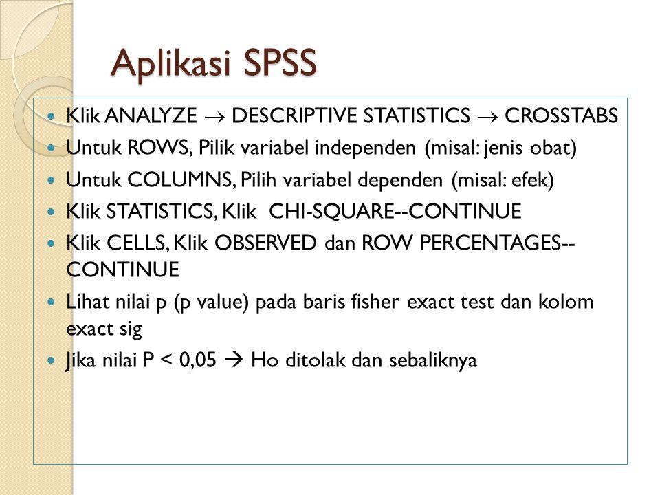 Aplikasi SPSS Klik ANALYZE  DESCRIPTIVE STATISTICS  CROSSTABS