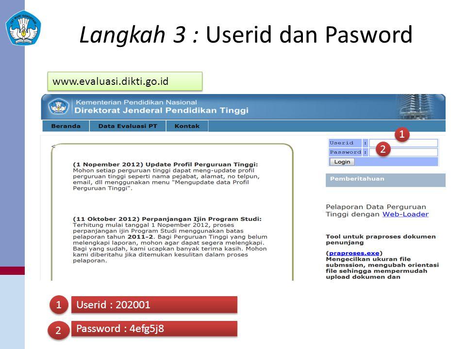 Langkah 3 : Userid dan Pasword