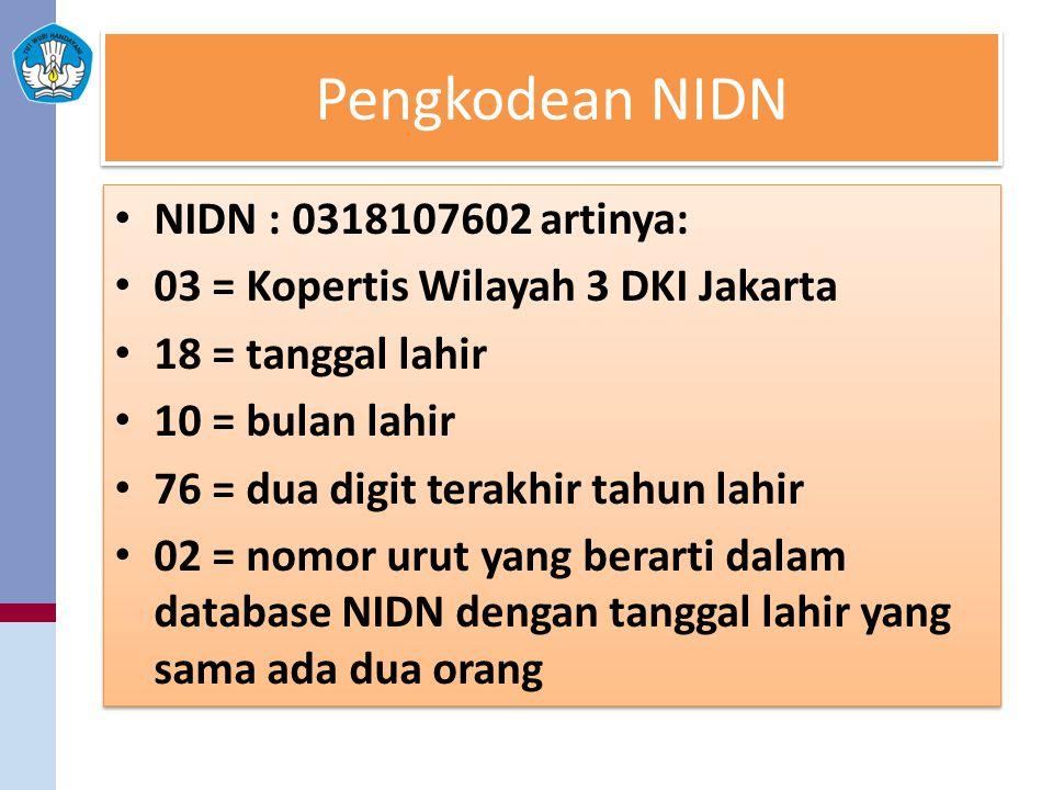 Pengkodean NIDN NIDN : 0318107602 artinya: