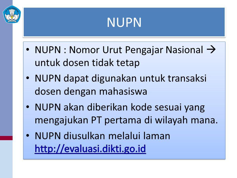 NUPN NUPN : Nomor Urut Pengajar Nasional  untuk dosen tidak tetap