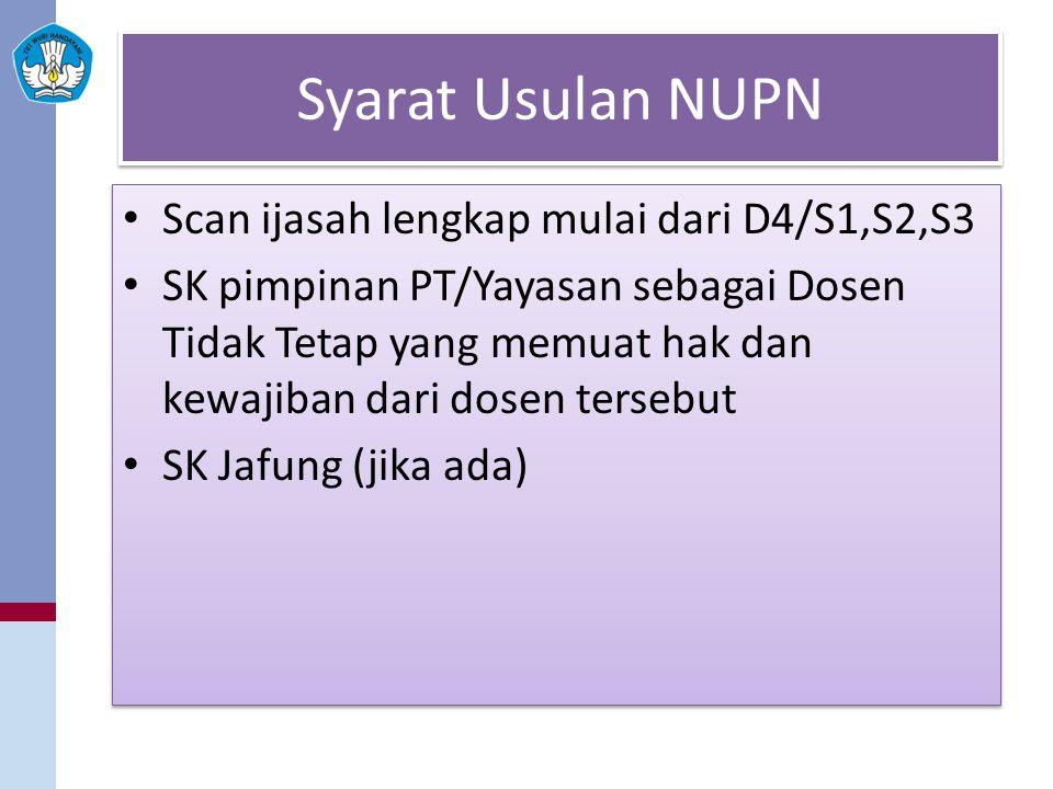 Syarat Usulan NUPN Scan ijasah lengkap mulai dari D4/S1,S2,S3