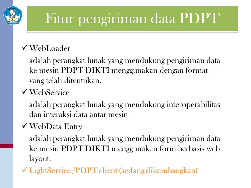 Fitur pengiriman data PDPT
