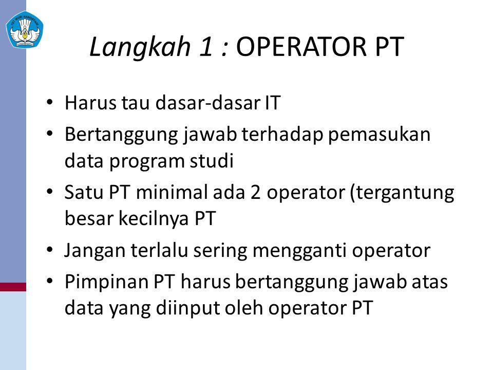 Langkah 1 : OPERATOR PT Harus tau dasar-dasar IT