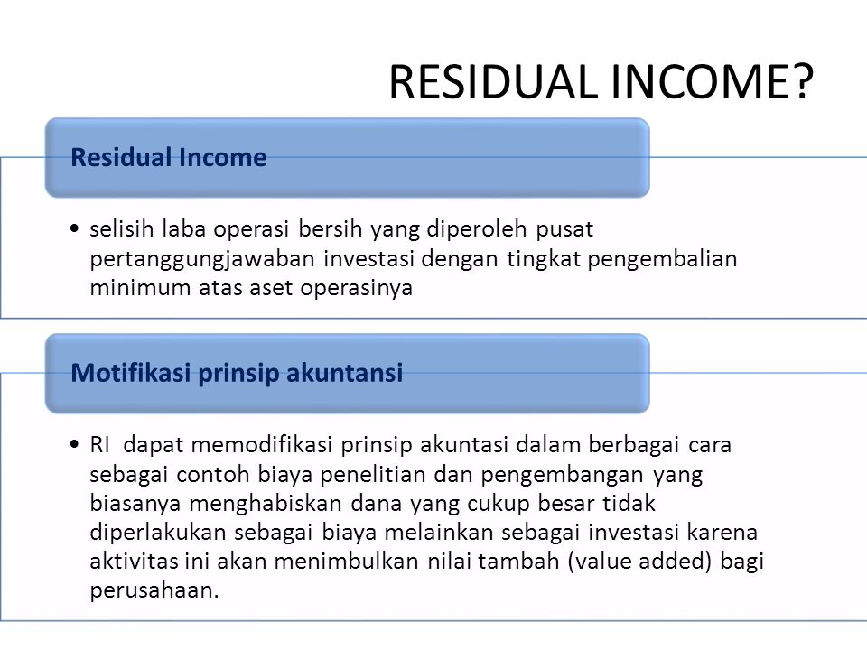 RESIDUAL INCOME Motifikasi prinsip akuntansi Residual Income