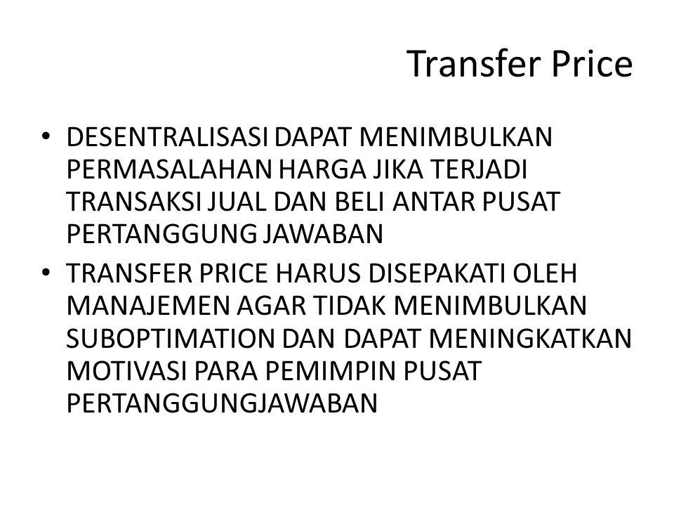 Transfer Price DESENTRALISASI DAPAT MENIMBULKAN PERMASALAHAN HARGA JIKA TERJADI TRANSAKSI JUAL DAN BELI ANTAR PUSAT PERTANGGUNG JAWABAN.