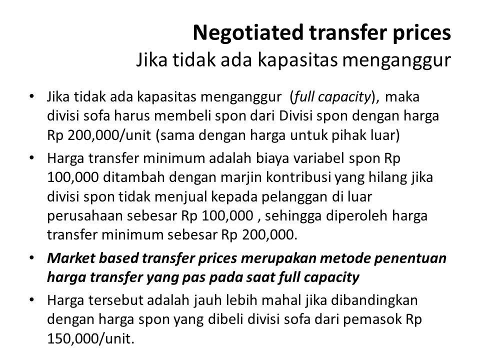 Negotiated transfer prices Jika tidak ada kapasitas menganggur