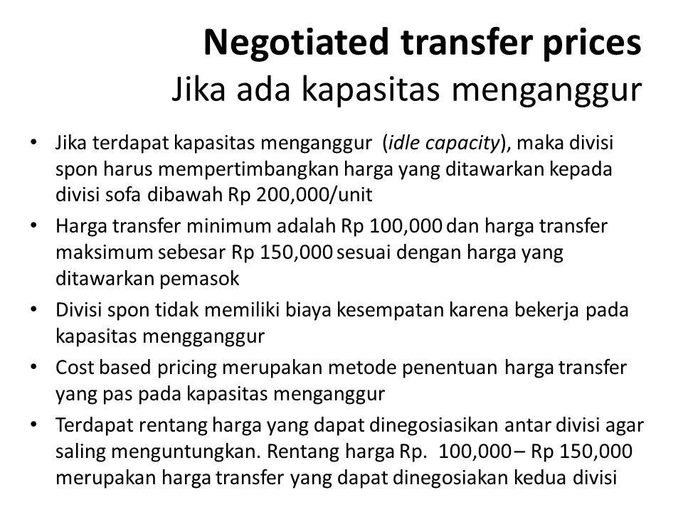 Negotiated transfer prices Jika ada kapasitas menganggur