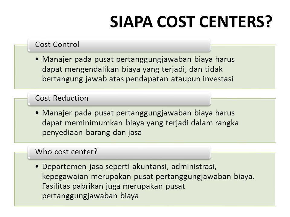 SIAPA COST CENTERS Cost Control