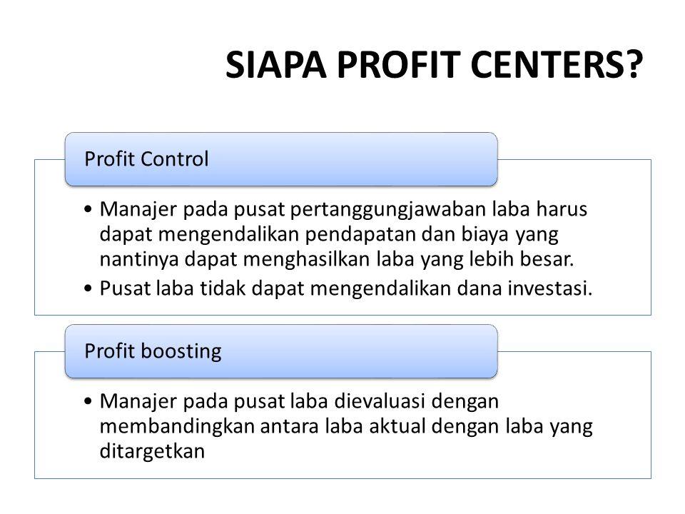 SIAPA PROFIT CENTERS Profit Control