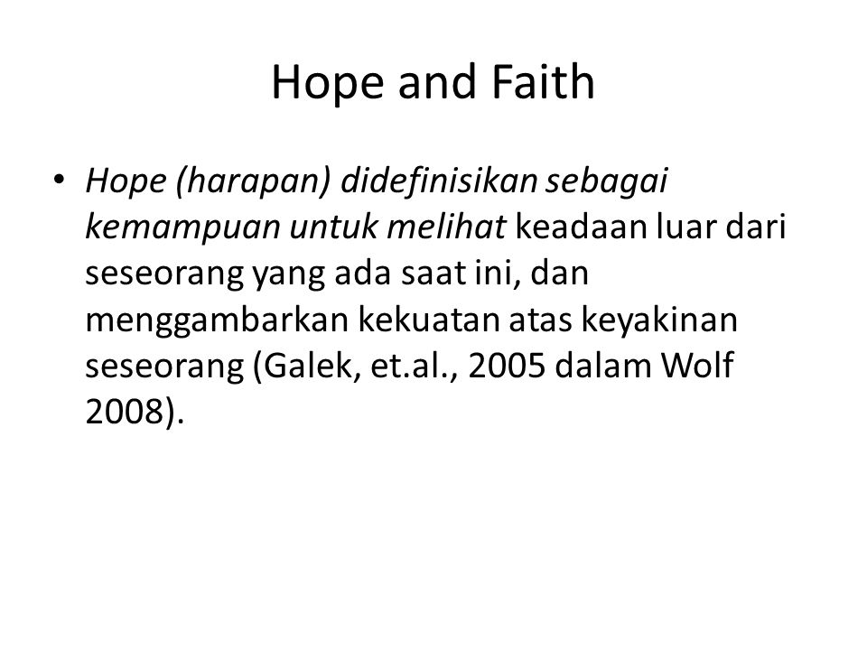 Hope and Faith