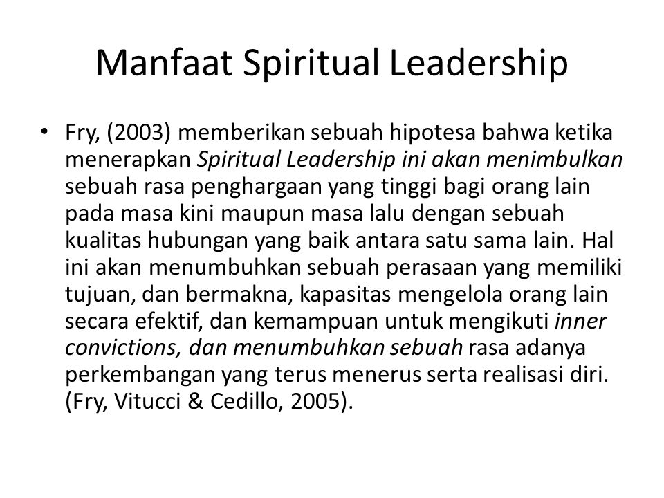 Manfaat Spiritual Leadership