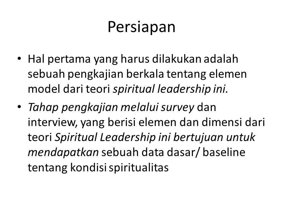 Persiapan Hal pertama yang harus dilakukan adalah sebuah pengkajian berkala tentang elemen model dari teori spiritual leadership ini.