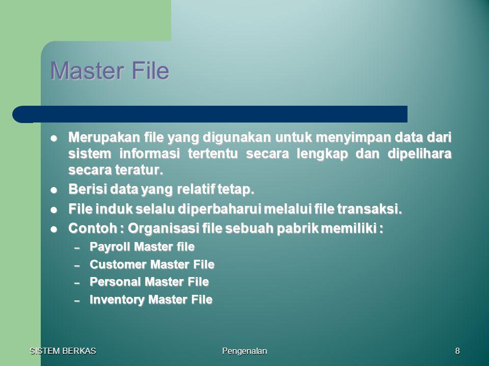 Master File Merupakan file yang digunakan untuk menyimpan data dari sistem informasi tertentu secara lengkap dan dipelihara secara teratur.