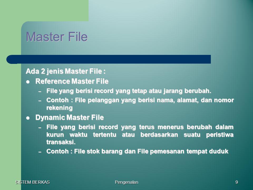 Master File Ada 2 jenis Master File : Reference Master File