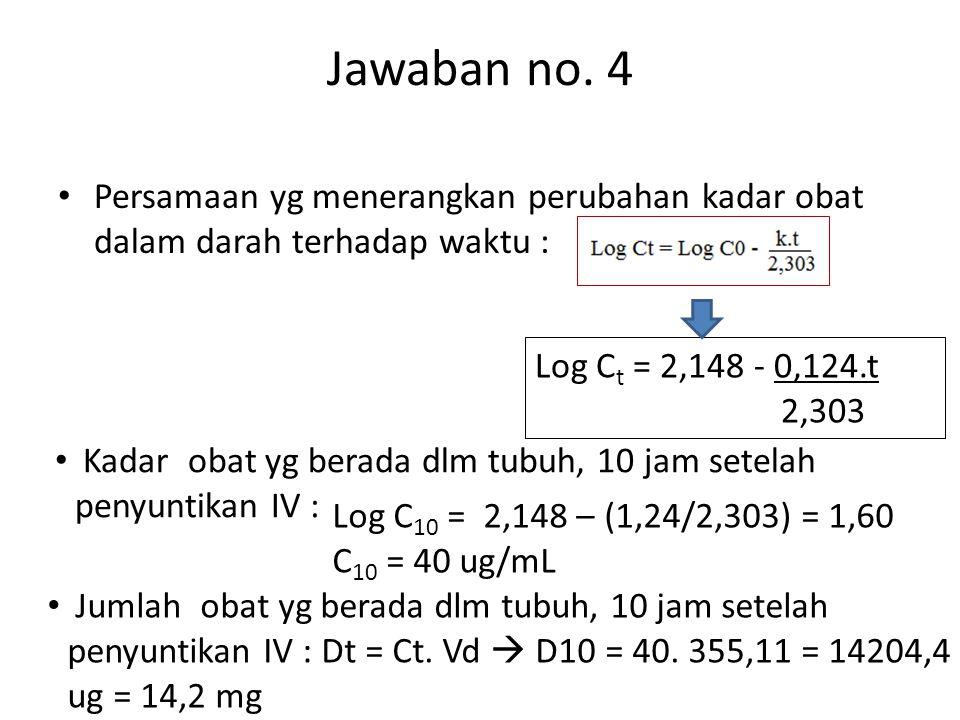 Jawaban no. 4 Persamaan yg menerangkan perubahan kadar obat dalam darah terhadap waktu : Log Ct = 2,148 - 0,124.t.