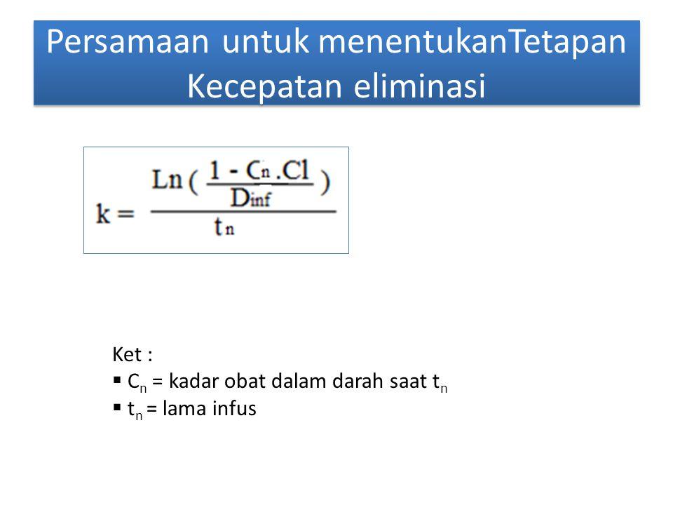 Persamaan untuk menentukanTetapan Kecepatan eliminasi