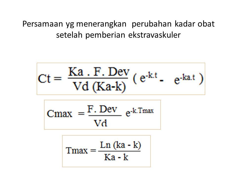 Persamaan yg menerangkan perubahan kadar obat setelah pemberian ekstravaskuler