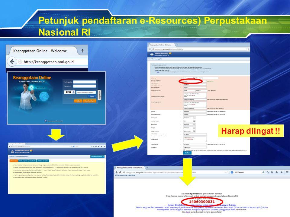 Petunjuk pendaftaran e-Resources) Perpustakaan Nasional RI