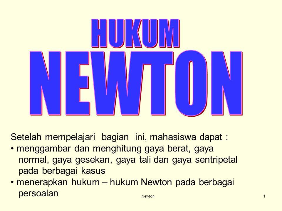 HUKUM NEWTON Setelah mempelajari bagian ini, mahasiswa dapat :