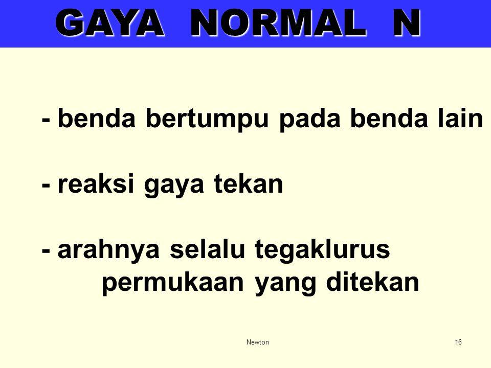 GAYA NORMAL N - benda bertumpu pada benda lain - reaksi gaya tekan