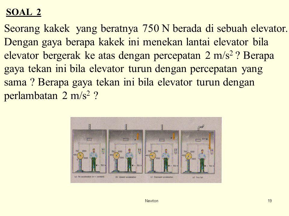 Seorang kakek yang beratnya 750 N berada di sebuah elevator.